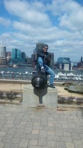 Oscar mans the cannon on Federal Hill.