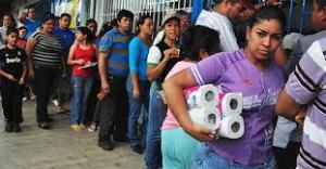 Lining up for toilet paper.